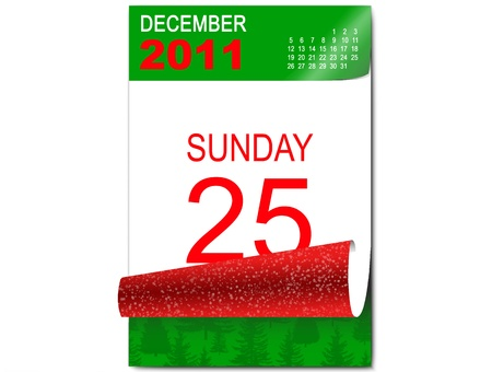 2d illustration of a calendar open on the day of Christmas illustration