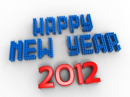 3d illustration of words to wish the new year version USA