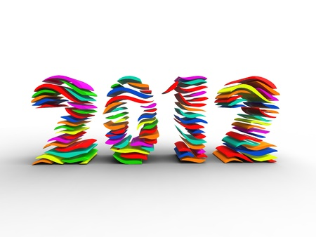 3d illustration of several layers of color forming the new year Stock Photo