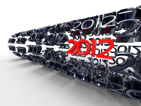 3d illustration of 2012 which forms a tube on a white background illustration