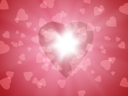 3d illustration of confetti in the shape of pink heart scattered on a pink background Stock Photo