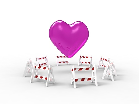 3d illustration of a heart surrounded by barriers of work on white background Stock Photo