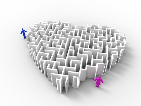 complication: 3d illustration of a maze-like heart and a couple on white background