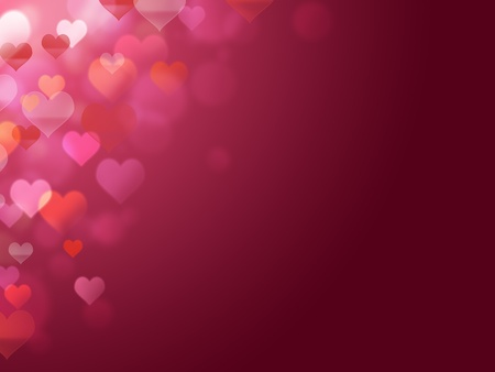appear: 2d illustration of hearts of many colors that appear in the light Stock Photo