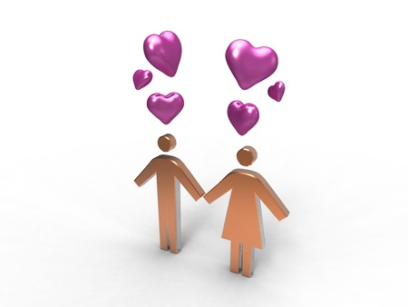 symbolically: man and a woman symbolically represented with hearts over their heads