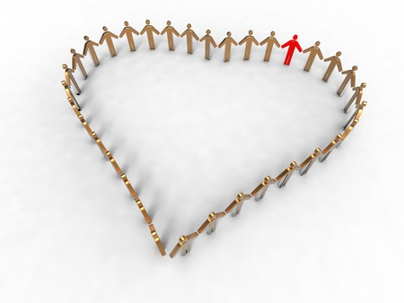 3d illustration of heart reprensented by a group of people on white backgound Stock Illustration - 12202611