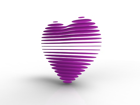 3d illustration of a pink heart sliced on white background