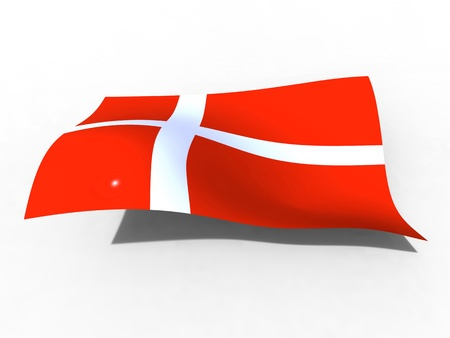 danish flag: 3d illustration of the Denmark flag that waves with wind Stock Photo