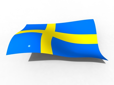 3d illustration of the Sweden flag that waves with wind Stock Photo