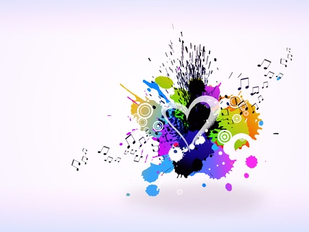 2d illustration of musical notes and an explosion of multicolored tasks