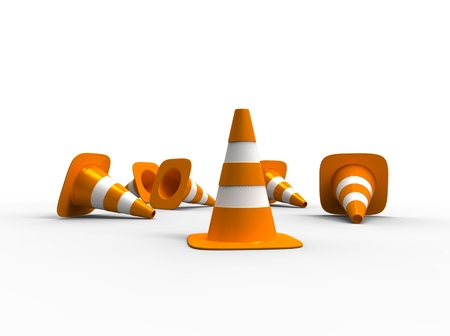 3d illustration of traffic cone knock over on white background illustration