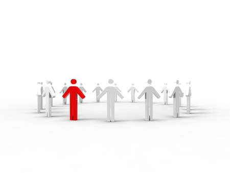 co action: 3d illustration of a chain of men in a round on white background