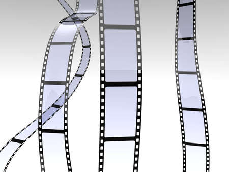 film director: 3d illustration of film roll falling on white background