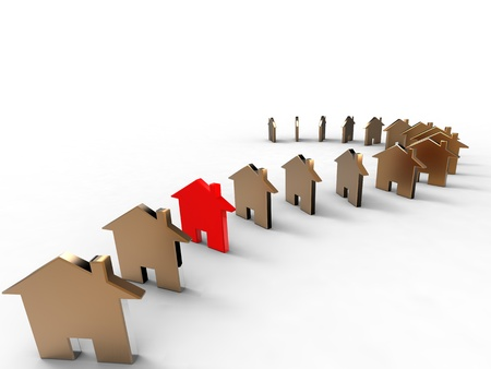 3d illustration of a series of house one after the Outher on white background Stock Photo
