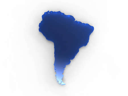 3d illustration of the territory of Africa represented in blue on white background illustration