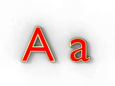 3d rendering of the letter A in gold and red metal on a white background. photo