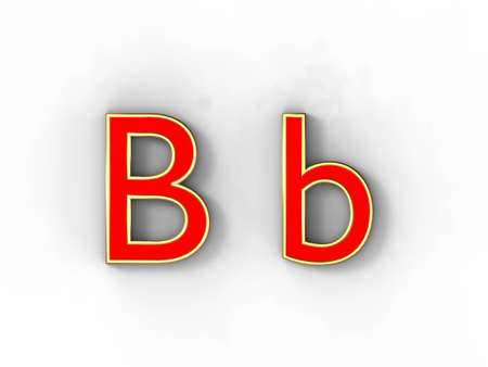 3d rendering of the letter B in gold and red metal on a white background. photo