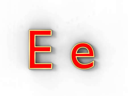 3d rendering of the letter E in gold and red metal on a white background. photo