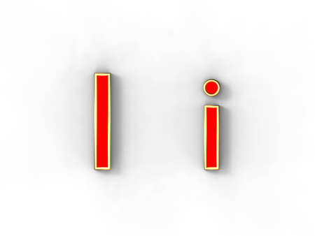 3d rendering of the letter I in gold and red metal on a white background. photo