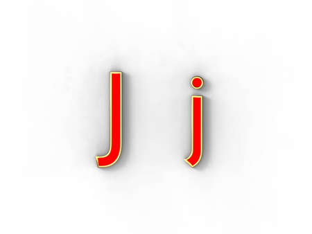 3d rendering of the letter J in gold and red metal on a white background. photo