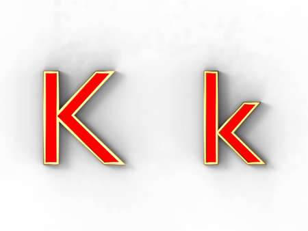 3d rendering of the letter K in gold and red metal on a white background.