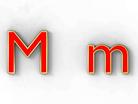3d rendering of the letter M in gold and red metal on a white background. photo