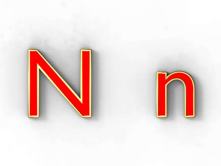 3d rendering of the letter N in gold and red metal on a white background. photo