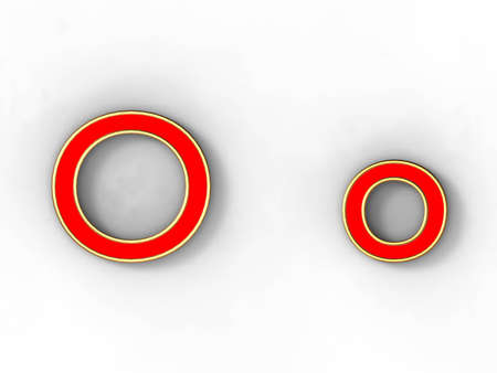 3d rendering of the letter O in gold and red metal on a white background. photo