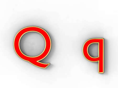 3d rendering of the letter Q in gold and red metal on a white background. photo