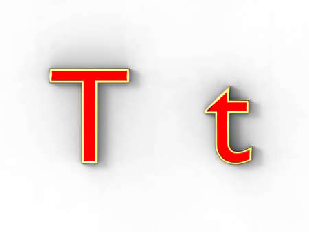 3d rendering of the letter T in gold and red metal on a white background. photo