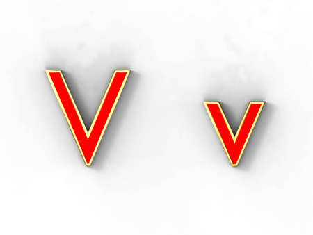 3d rendering of the letter V in gold and red metal on a white background.