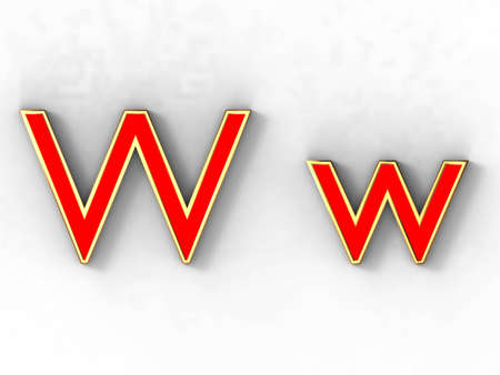 3d rendering of the letter W in gold and red metal on a white background. photo