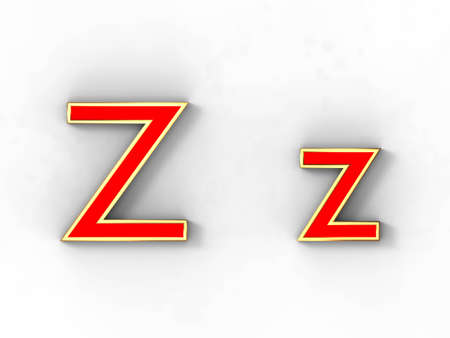 3d rendering of the letter Z in gold and red metal on a white background. photo