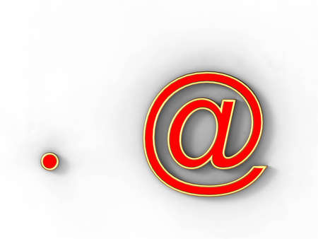 arobase: 3d rendering of the symbol at and dot in gold and red metal on a white background.