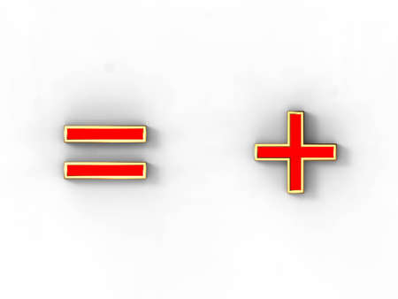 3d rendering of the symbol plus and minus in gold and red metal on a white background. photo