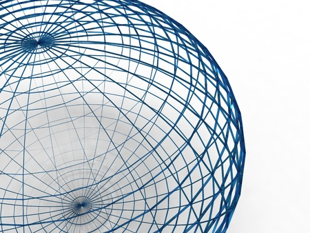 3d illustration of a sphere of wire blue on white background illustration