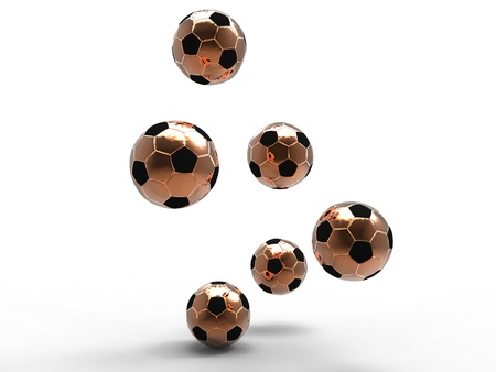 3d illustration of several gold footballs being bounced on a white background Stock Illustration - 13170056