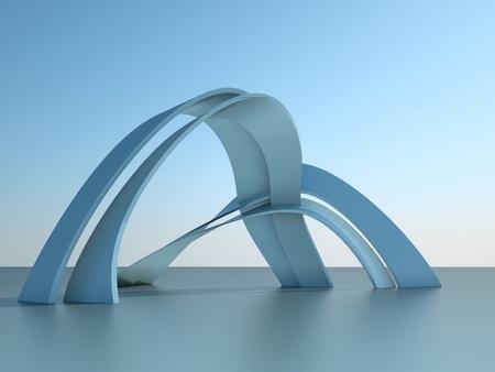 하늘 배경에 아치와 현대 건축 건물의 3d 그림