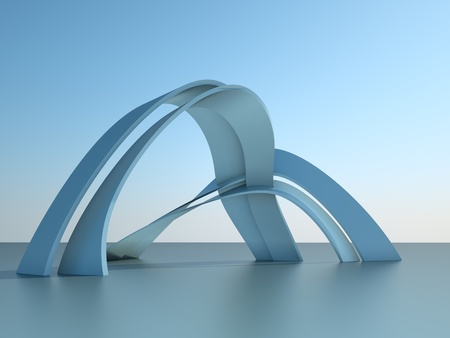 futuristic city: 3d illustration of a modern architecture building with arches on sky background