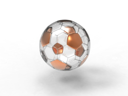 3d illustration of gold ang glass ball on a white background