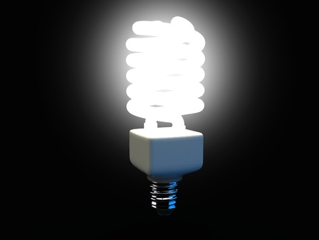 3d illustration of a compact fluorescent light bulb low energy illustration
