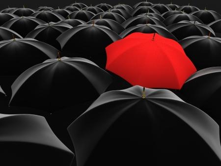 3d ilustración de un paraguas rojo en medio de varios paraguas negros Foto de archivo