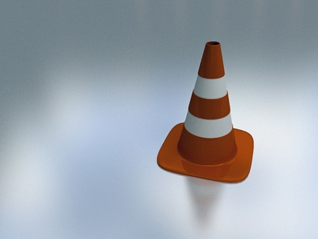 3d illustration of orange and white traffic cone on reflective background illustration