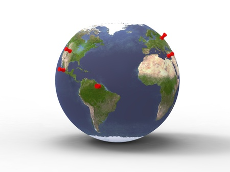 3d illustration of our planet Earth with thumbtacks above red illustration
