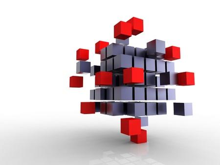 3d illustration of a lot of metallic black cubes Stock Photo