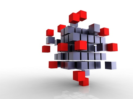 3d illustration of a lot of metallic black cubes Stock Photo