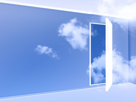 clean air: 3d illustration of an empty and transparent room in the sky with an open door