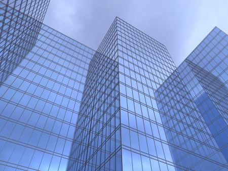 3d illustration of a facade of office to sue reflecting a blue sky illustration