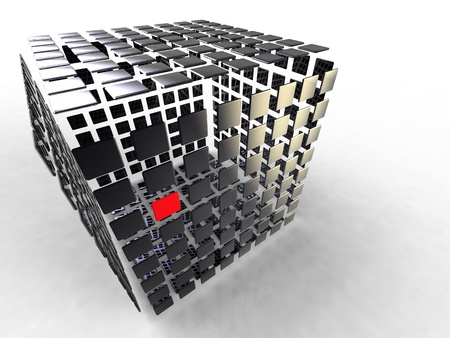 illustration of a black cube composed of several plates black and red illustration