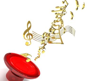 woofer: 3d illustration of red loudspeaker that emits golden note of music
